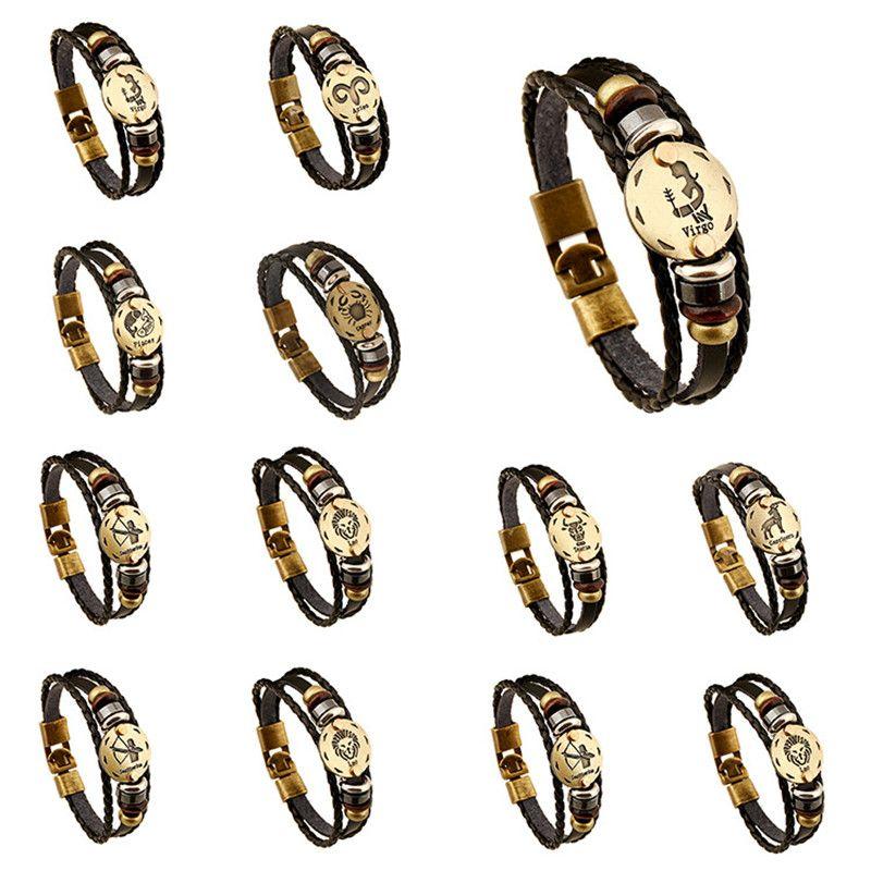 Douze Constellation Bracelet en cuir Punk RETRO main tissé perles de peau de vache à tricoter Multilayer ornements de corde gothique Vintage réglable