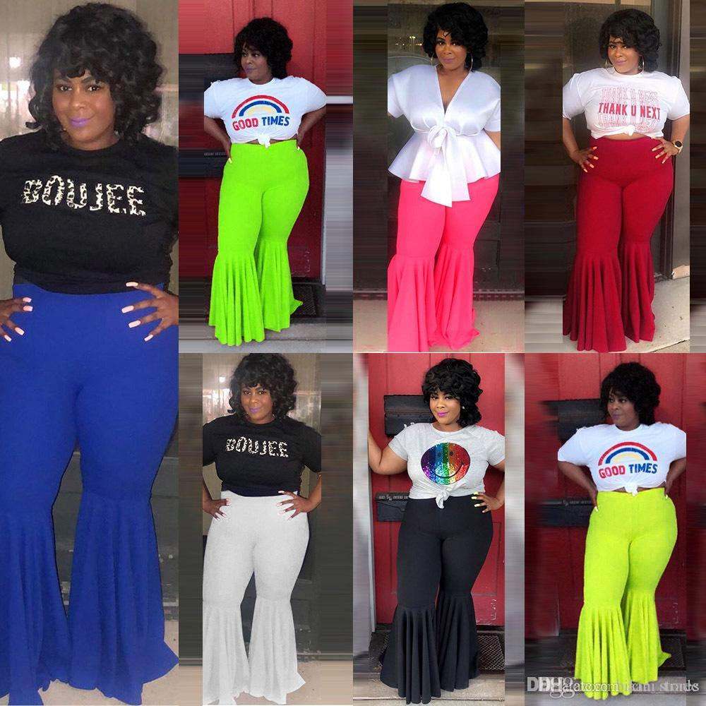 5XL Moda Elástico Flare Pantalones de Verano de Playa Casual Pantalones de Pierna Ancha Pantalones Femeninos Plisados Vintage Mujer Ropa