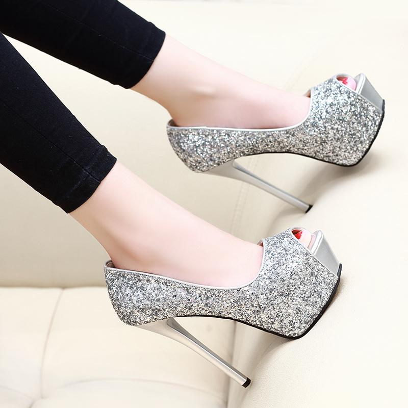 Gorgeous2019 Sexy 14cm Fish Mouth Single Shoe Woman Waterproof Platform Paillette Shallow And Thin With Women's Evening Show High-heeled