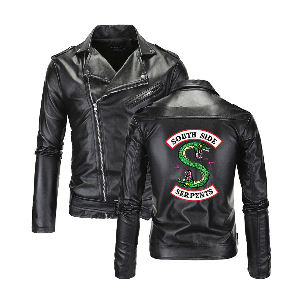 بارد ساوثسايد Riverdale بدوره إلى أسفل طوق جاكيتات جلدية الثعبان الرجال ريفرديل الشارع الشهير جلد الثعبان الجانب الجنوبي العلامة التجارية