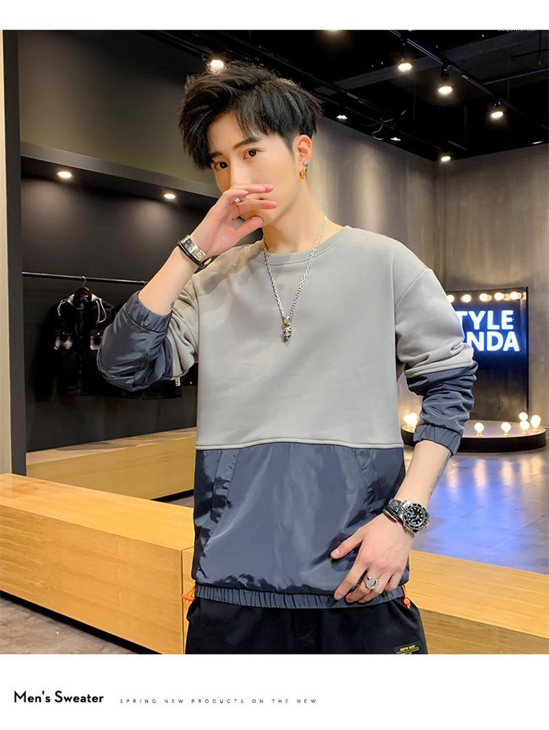 Panelled Shirts Patchwork Round Neck Casual Tees Long Sleeve Pocket Pullover Hoodies Mens Top Clothing Spring Mens Designer