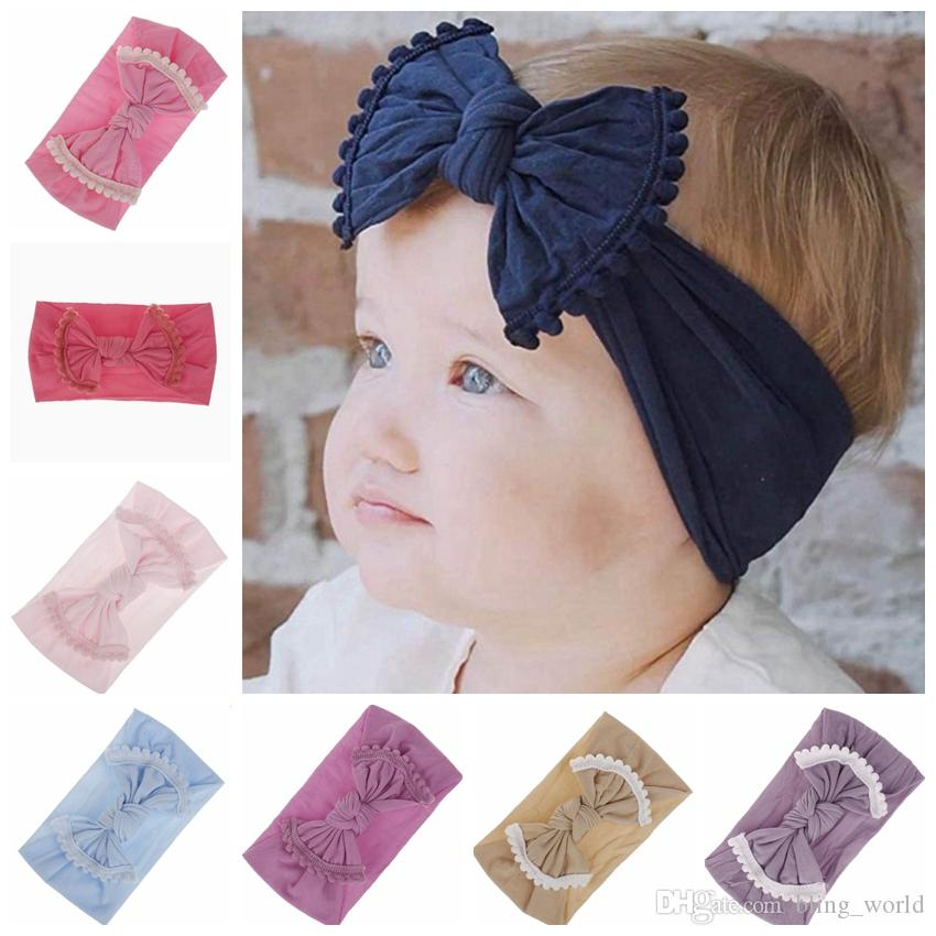 Brand Baby Hairband Toddler Bow Hairband Tassel Baby Girls Headband Big Knot Turban Kids Hair Accessories 21 Designs Free Shipping YW2111