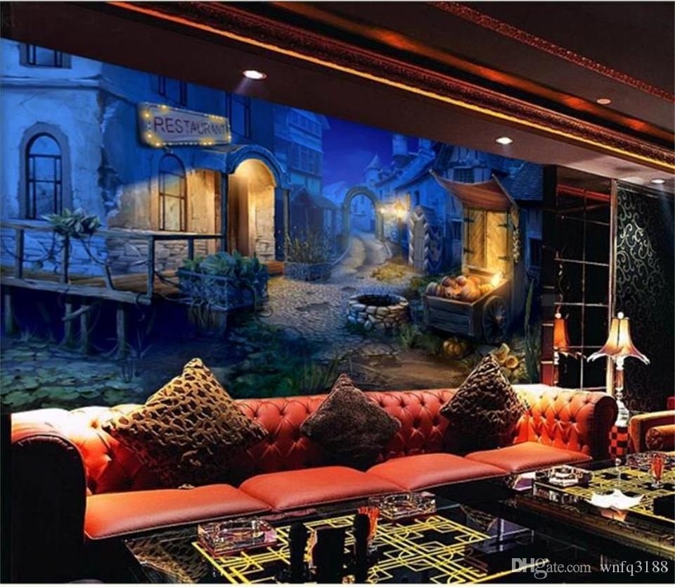 dimensione personalizzata 3d foto wallpaper camera dei bambini 3d murale fantasy disegnato a mano di arte di halloween immagine divano TV sfondo carta da parati non tessuto wall sticker
