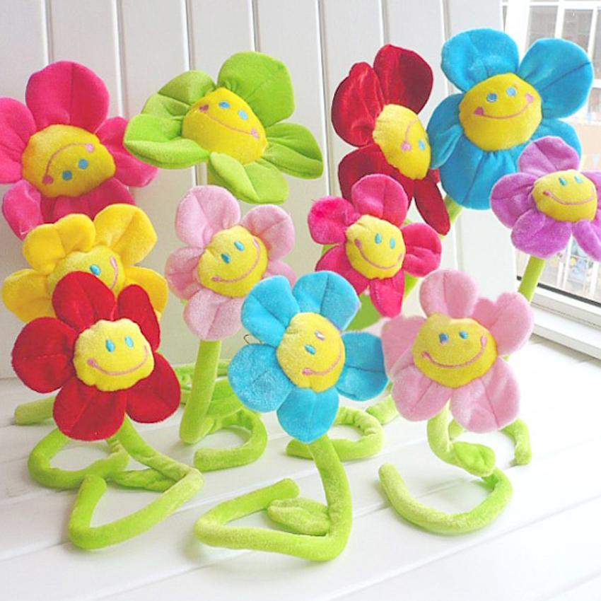 Karikatür Ev Oyuncak Fonksiyonlu Ayçiçekleri Peluş Bitkiler babys Yatak Dekorasyon Odası Dekorasyon Perde Toka Gülümseme