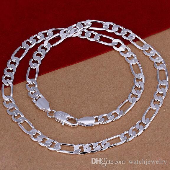Colar 8MM 925 Sterling Silver Figaro Cadeia 16-24Inches Colar com qualidade superior Chains Hip Hop colares