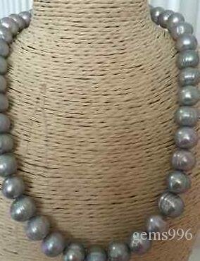 stordimento 10-11mm Tahitian barocco collana di perle grigio 18inch 14k