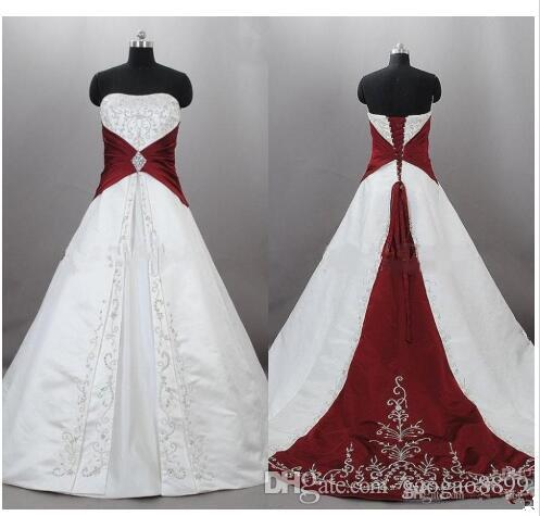 2019 new Strapless Satin Embroidery Red And White Wedding Dresses Zuhair Murad Lace Up With Sweep Train Bridal Wedding Gowns Custom Made