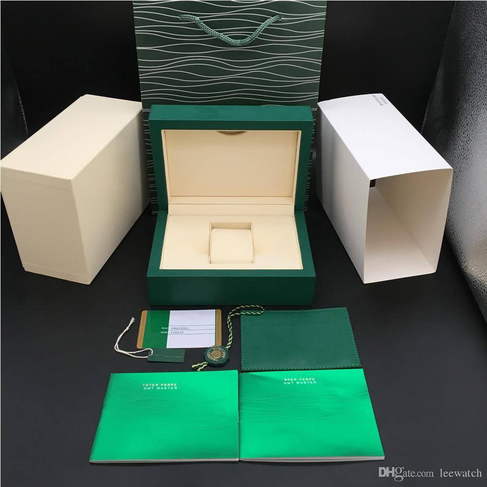2 Стили самые новые самые лучшие качества Темно-зеленый Оригинальный Вуди часы Box Papers мешок подарка для Rolex Box 116600 Часы Шкатулки