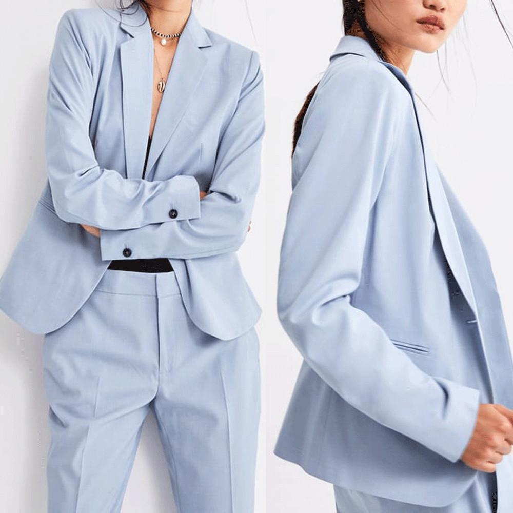 Women Suits 2 Pieces Blue Soild Ladies Prom Evening Formal Wear Tuxedos Blazer For Wedding(Jacket+Pants)