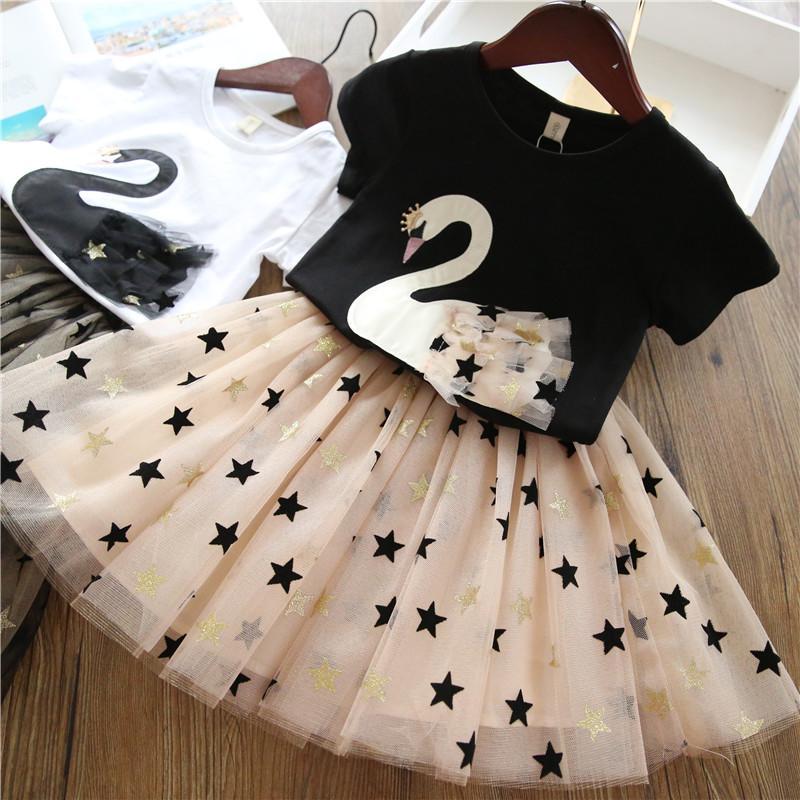 Set di abbigliamento per ragazze 2019 Top da fenicottero con stella di principessa Bling per ragazza estiva + Abito con stella di bling Set di 2 pezzi Abiti per abbigliamento per bambini