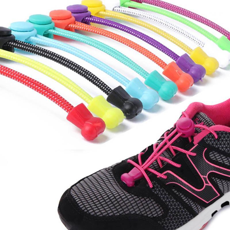 1Pair Locking Shoe Laces Unisex Elastic Sneaker Shoelaces Sport Shoestring Decor
