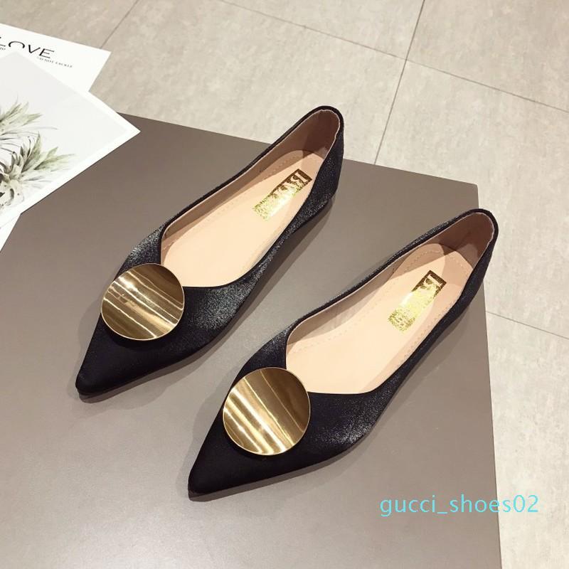 2020 cuero del resorte Nueva suave zapatos de metal hebilla redonda Mujer planos del ballet de dedo del pie acentuado boca baja deslizamiento en Damen Holgazanes J16-05 g02