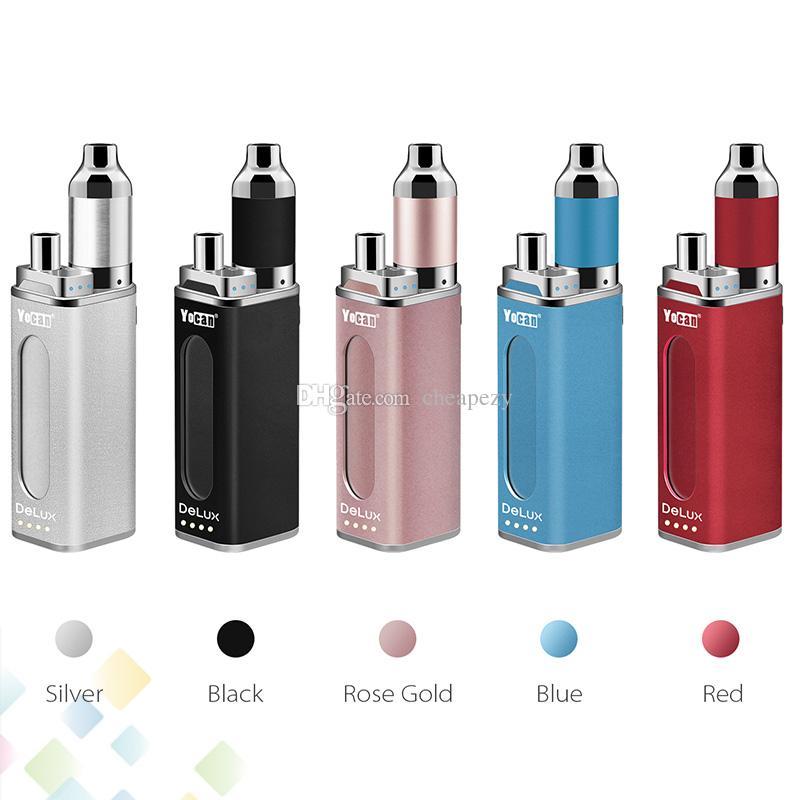 Authentic Yocan DeLux Kit 1500mAh Power Bank Battery 450mAh Mini Box Mod Wax Oil Atomizer 2 In 1 Kits DHL Free