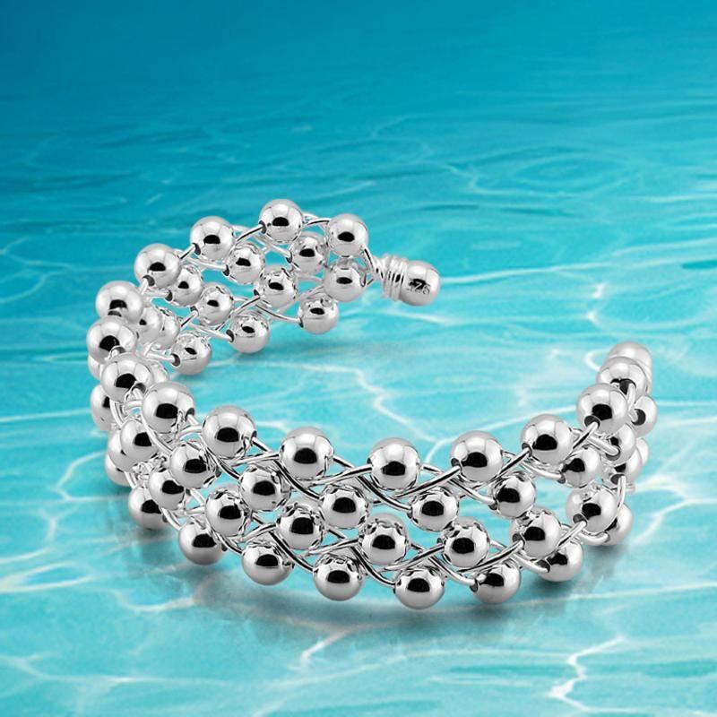 925 Sterling Silver Hollow Wide ювелирных изделия Манжеты браслеты браслеты для женщин круглого бисера Открыть Большой Женский браслет моды