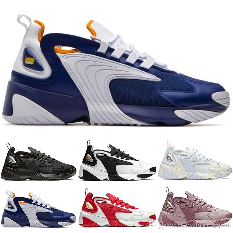 Acheter Nike Zoom 2K Hommes Zoom 2K Lifestyle Chaussures De Course Blanc Noir Bleu ZM Fashion Trainer Designer Baskets Extérieures M2K Confortable