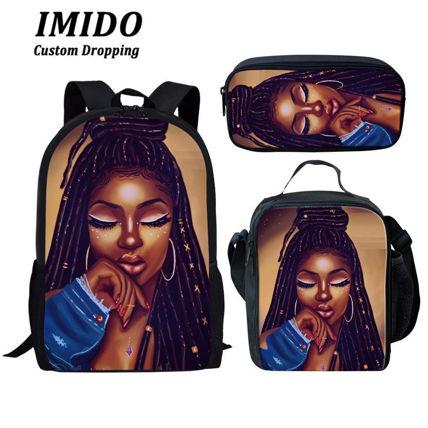 Immido elegante 3pcs / set Black Girls Afro Donne Scuola Tipografica sacchetti sacchetto bambini per la Scuola Bagpack bambini Preppy Schoolbag Mochila