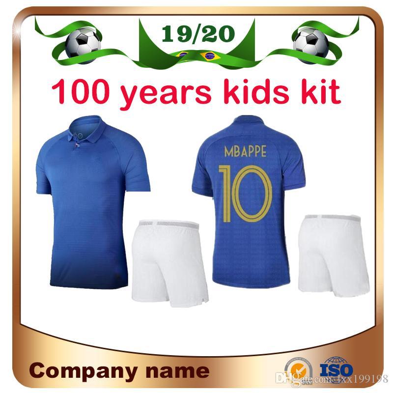 2019 # 10 MBAPPE 100 años Kit Kit Fútbol Jersey 19/20 100th # 7 Griezmann # 6 Pogba Soccer Shirt Children Giroud Kante Fútbol Uniforme