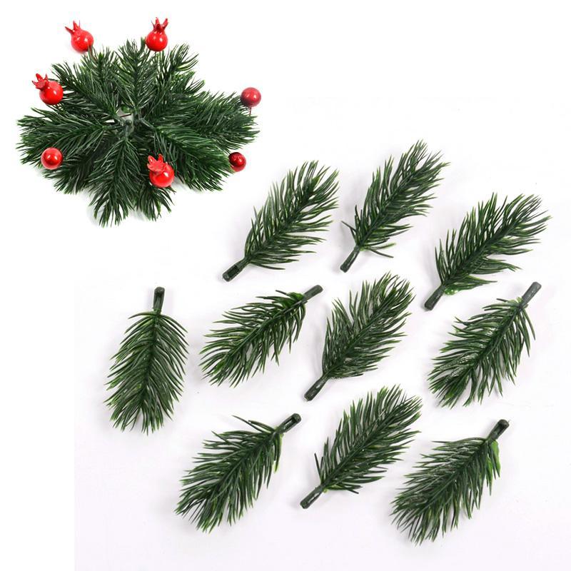 10pcs plástico artificial pino plantas ramas del árbol de navidad decoraciones de boda de bricolaje artesanal de suministro niños y regalo Bouquet