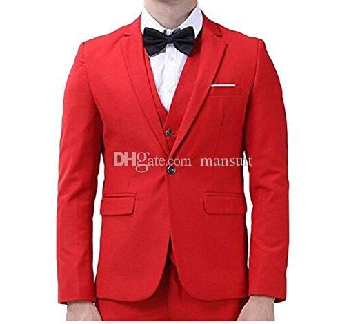 New Arrival Groomsmen 노치 옷깃 신랑 턱시도 Red Men 정장 웨딩 / 댄스 파티 / 디너 Best Man Blazer (자켓 + 바지 + 조끼 + 넥타이) M1016