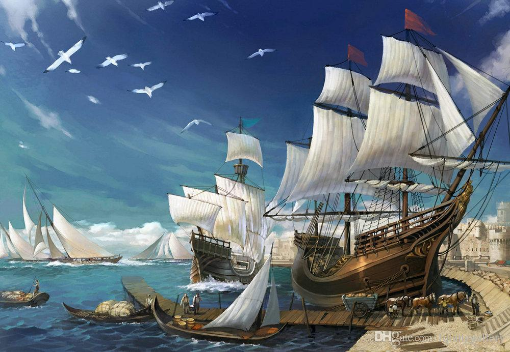 Home Decor HD print oil painting on canvas Fantasy art of sailing ship NO Frame