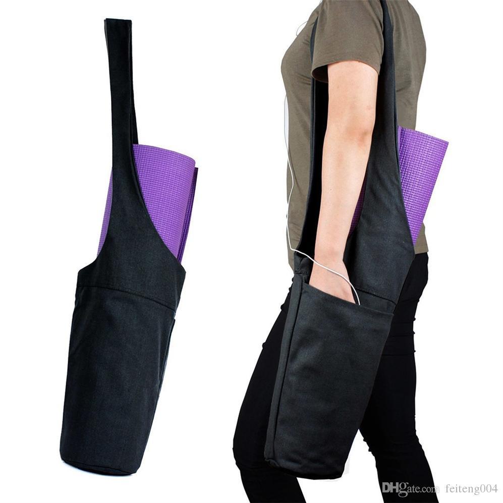 Durable Yoga Mat Bag Carrier Canvas Pilates Mat Bag With Inner Zipper Pocket For Phone Key Solid Black Dance Pack Fitness Case #717608