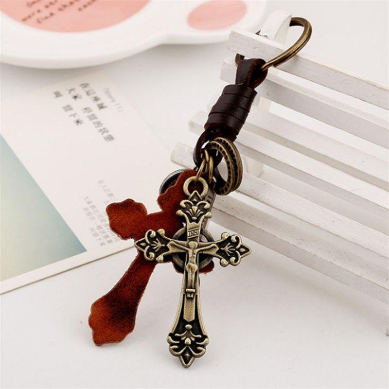 Exquisite Leather Alloy Cross Key Chain Vintage Woven Men Leather Keychain European American Punk Style Accessories Keyring for Bag