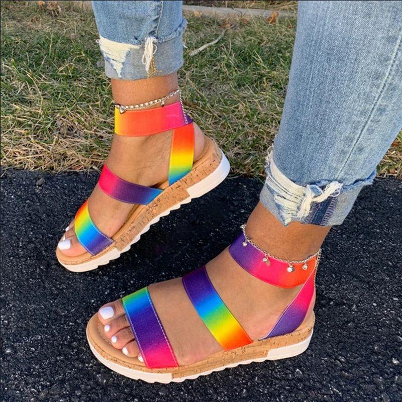 Litthing Kadın Sandalet Yaz Çok Renkli Platformu Kadınlar Sandalet Gökkuşağı Renkli Moda Ayakkabılar Kadın 2020