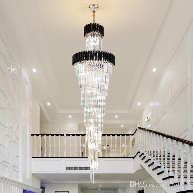 تصميم جديد الفخامة العصرية كبيرة قلادة من الذهب الثريا الكريستال الإضاءة أسود طويل ثريات الكريستال مصباح أدى لدرج المنزل قاعة فندق