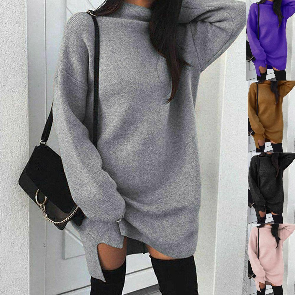 Gola alta de Mulheres Winter New Outono Vestido manga comprida Sólidos pulôver comprimento longo Tops Camisola