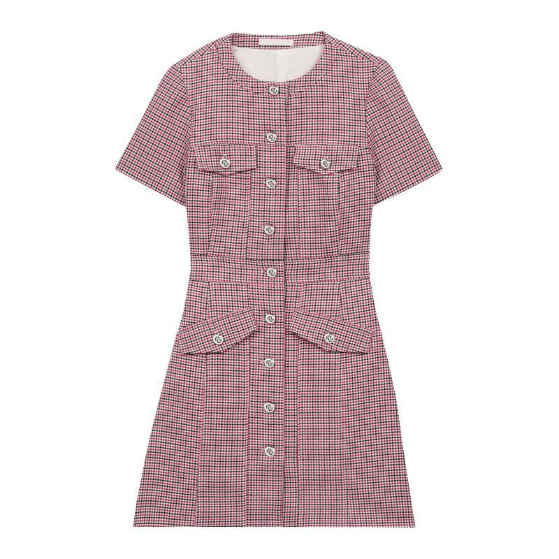 Женское платье новая весна / лето 2020 простая талия однобортное мини-платье с короткими рукавами