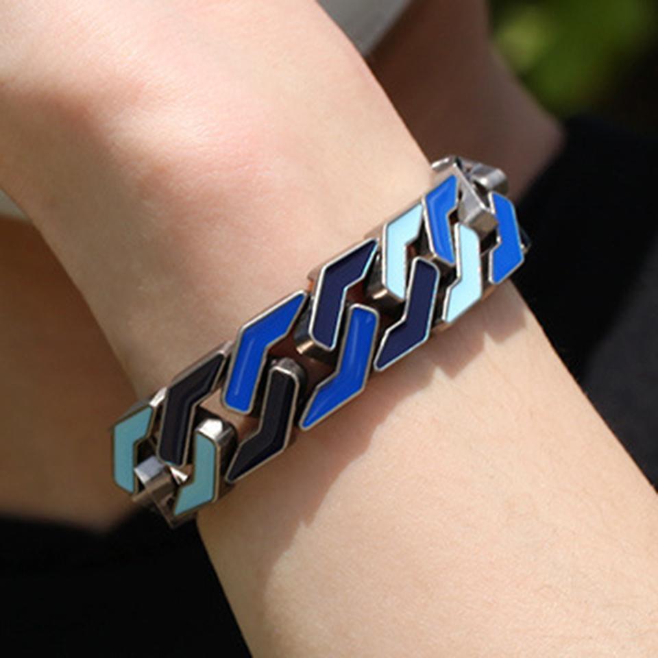 2020 New Antique Silver 17mm Colorful Blue Enamel Mens Geometry Cuban Chain Bracelet Punk Rock Wristband Rapper Jewelry Gifts for Guys Men