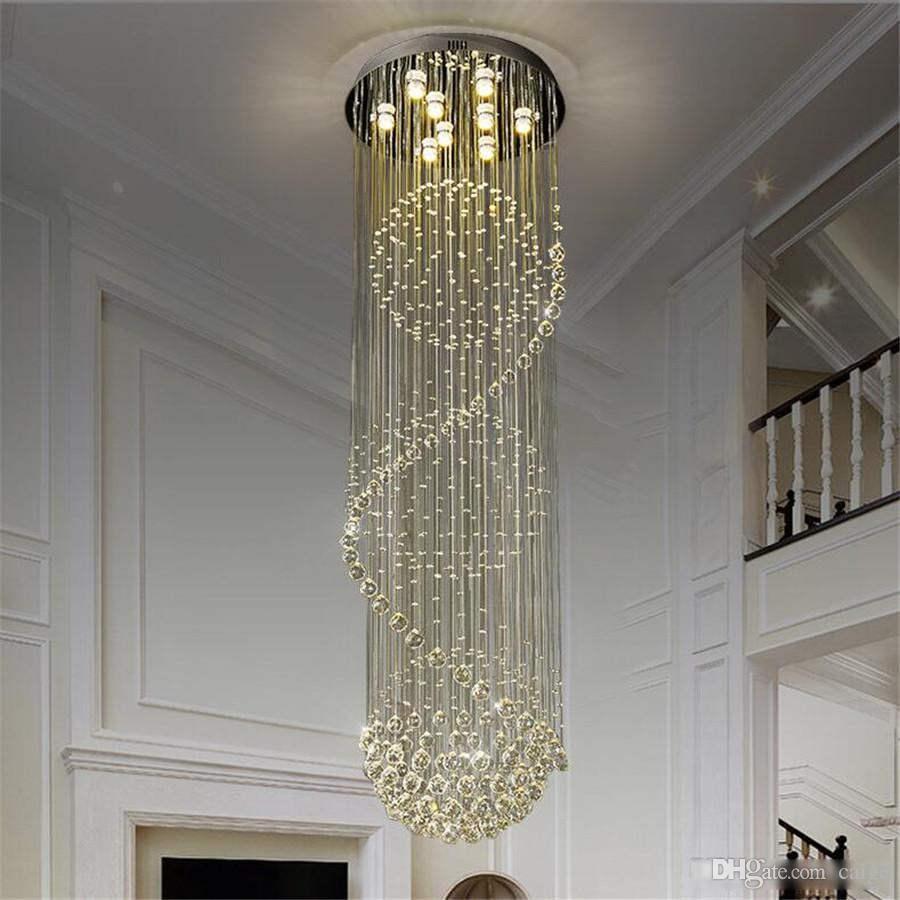 فيلا دوبلكس درج LED كريستال الثريا غرفة ضوء مطعم ضوء الإضاءة نوم تركيبات بسيطة الحديث