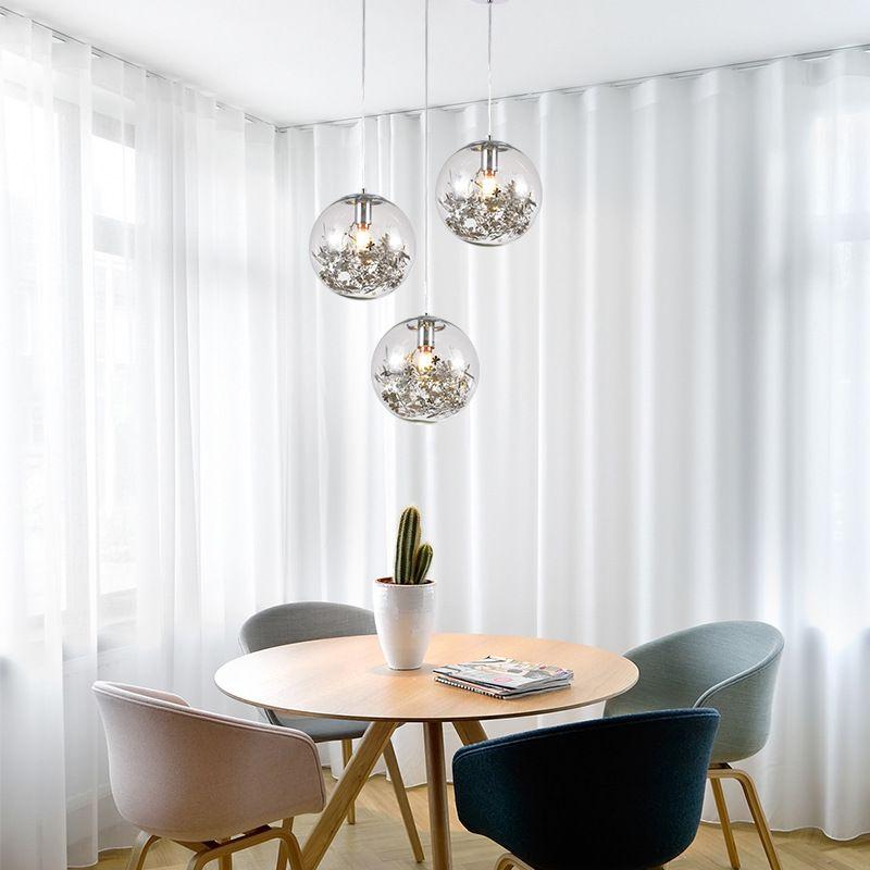 북유럽 유리 공 꽃 펜던트 조명 LED E27 4 색 방 침실 주방 레스토랑을 사는 현대 매달려 램프를 로프트