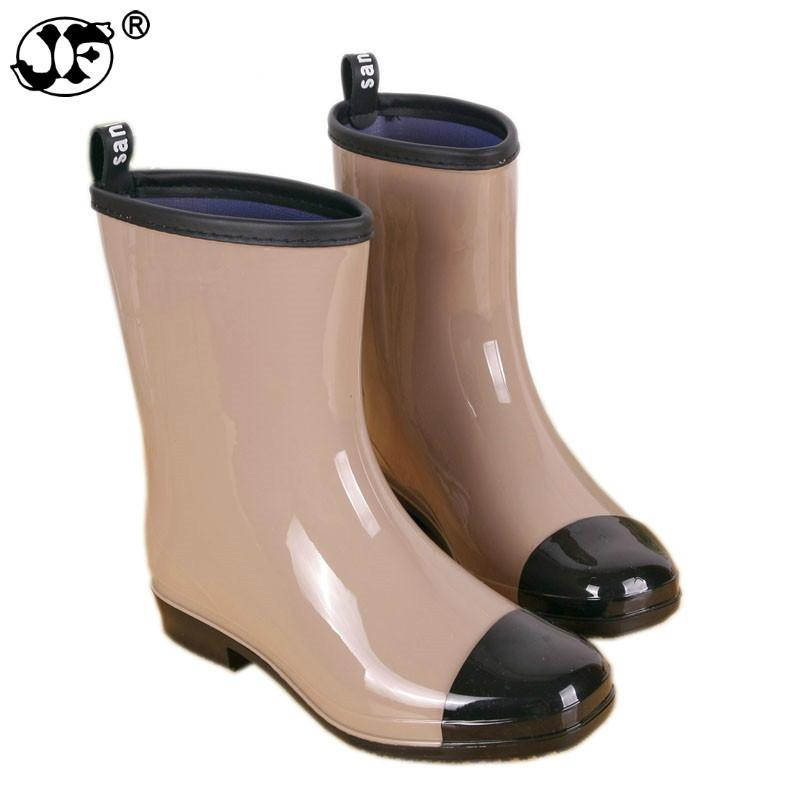 Mixed Colors Rain Boots Women Mid-calf Waterproof Water Shoes Woman Rainboots Slip-on Wellies Warm Socks gbh789