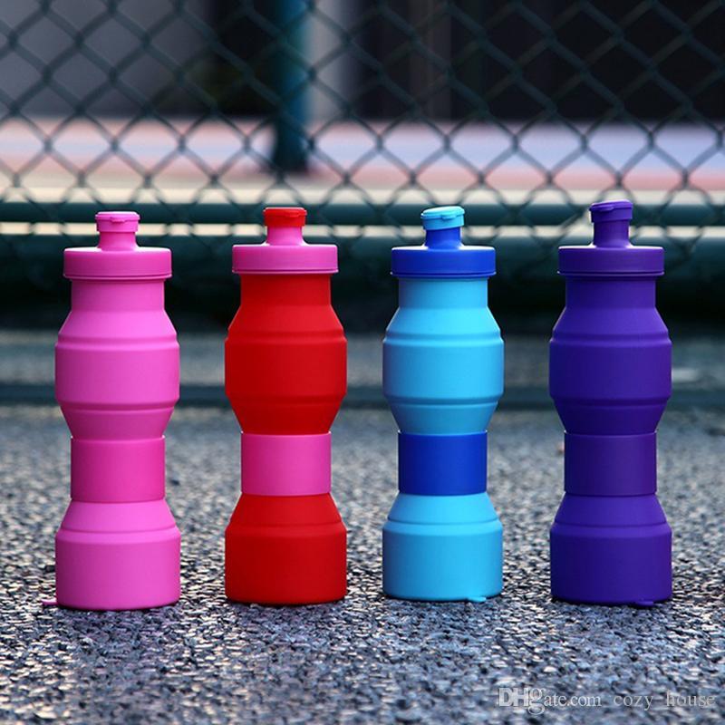 Творческий Открытый Силиконовый Чайник Путешествия Экологичный Складной Бутылки Воды Красочные Типы Велоспорт Держите Ремень Drinkware 800 мл