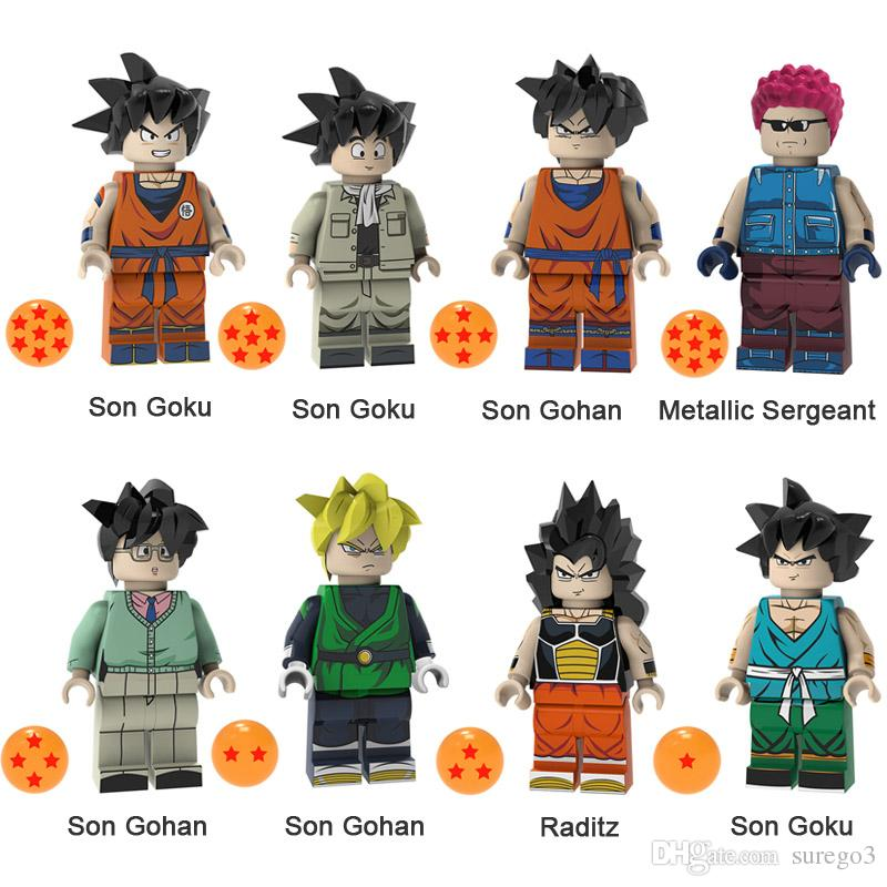 Dragon Ball Z Son Goku Son Gohan Metallic Sergeant Raditz Mini Action Figure Toy Building Block Bricks