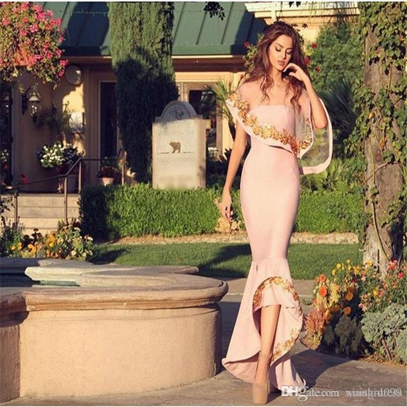 Waishidress élégant Plus haut Plus bas Robes de soirée sans bretelles Cape sirène Robes de soirée Custom Made Arabie Saoudite robe de bal Robe De Soiree