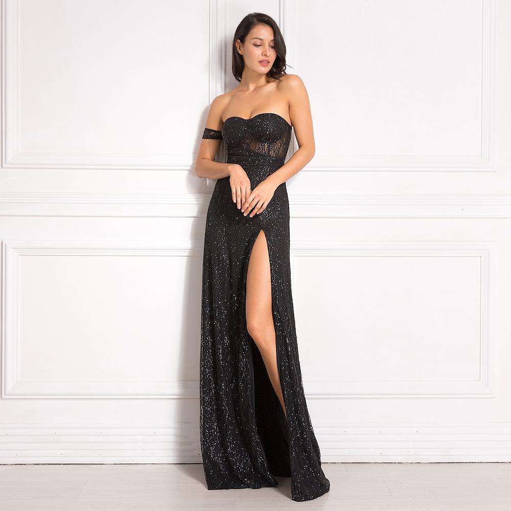 Off éclat épaule bling bling Glitters longueur de plancher de Split Party Dress pleine doublure matelassée longue robe noire dos nu MX200319