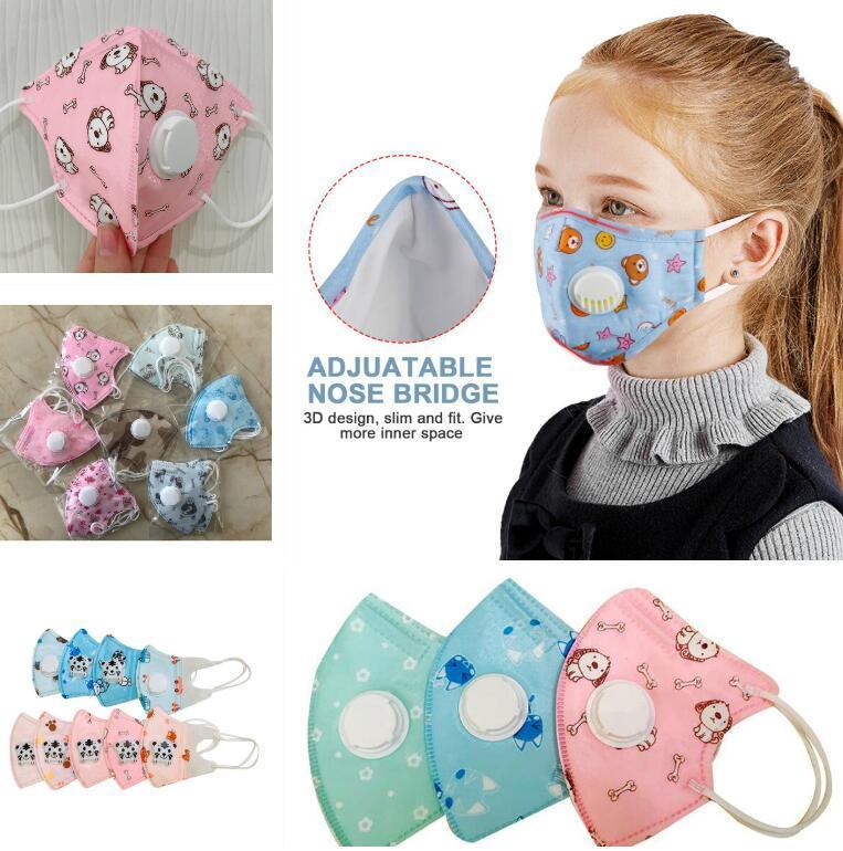 Mascarillas Máscara niños niños de dibujos animados con válvula de ventilación del filtro de carbón activo anti-polvo de protección PM2.5 la máscara anti polvo en Stock