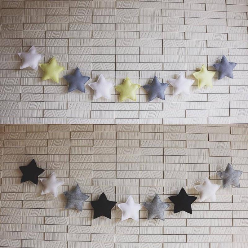 Nordic Art-Stern Handgemachte Girlande Weihnachten-Kind-Raum-Dekor-hölzerne wulstige Banner Nursery Decor beste Geschenke