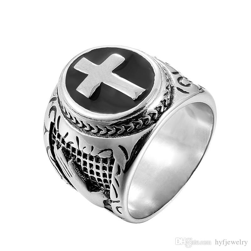 Hip Hop Men's Stainless Steel Cross Pattern Casting Rings Praying Hands Together Finger Ring Christian Jewelry
