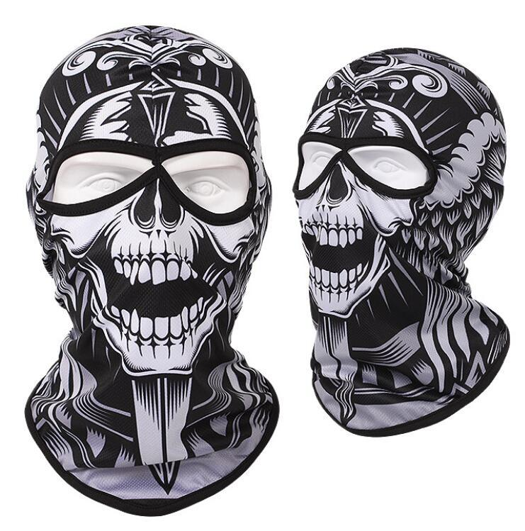 Cartoon print skull mask paintball full face protective ghost mask cycling masks Multi Function Headwear Skull Bandana Motorcycle Helmet