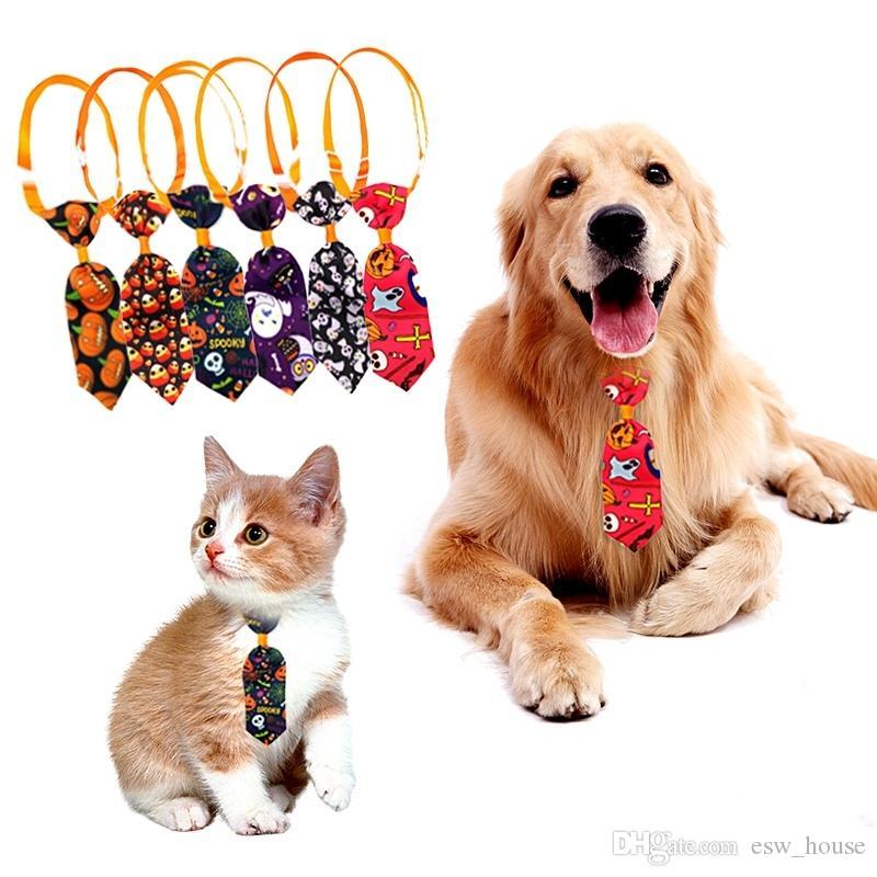 Animais Dia das Bruxas Laço do cão ajustável Cat Gravatas Fantasma Abóbora Impresso gravata filhote de cachorro gatinho do Dia das Bruxas Grooming Ties