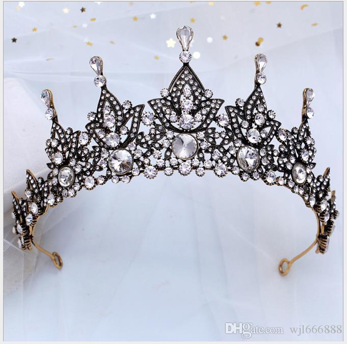 Crown Water Drill Baroque Bride Coiffe Couronne Atmosphérique Noir Nouveau Style