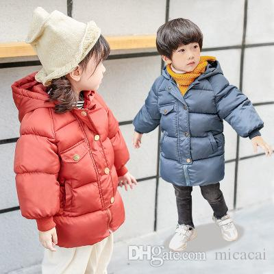 Winter Childrens Tide Korean Thick Hooded Hand Cotton Long Down Cotton Coat