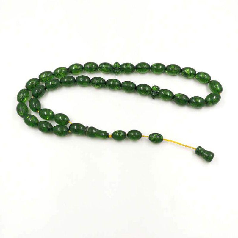 Resina verde Tashbih 33 contas de oração de grande tamanho Rosário islâmico bracelete muçulmano Mastkhan jóias Árabes Misbaha