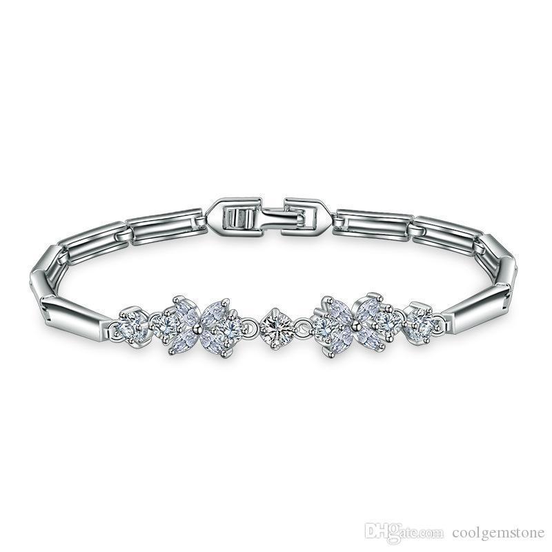 Vente chaude Luckyshine fleur de la mode cristal Bracelets 6pcs / Lot platiné blanc cubique de soirée de mariage zircons Gem Bracelet Bangles