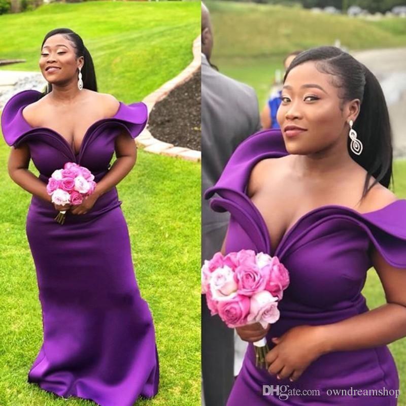 Deep Purple Длинных платьев невесты Мода Ruffles плечо рукава Русалка свадьба платье African Sexy Maid Of Honor платье