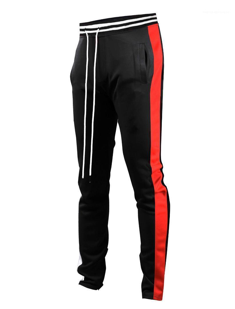 Para hombre rayada Deportes sueltan los pantalones de los hombres de moda del basculador cordón elestic cintura Pantalones Hombres Primavera bragas ocasionales