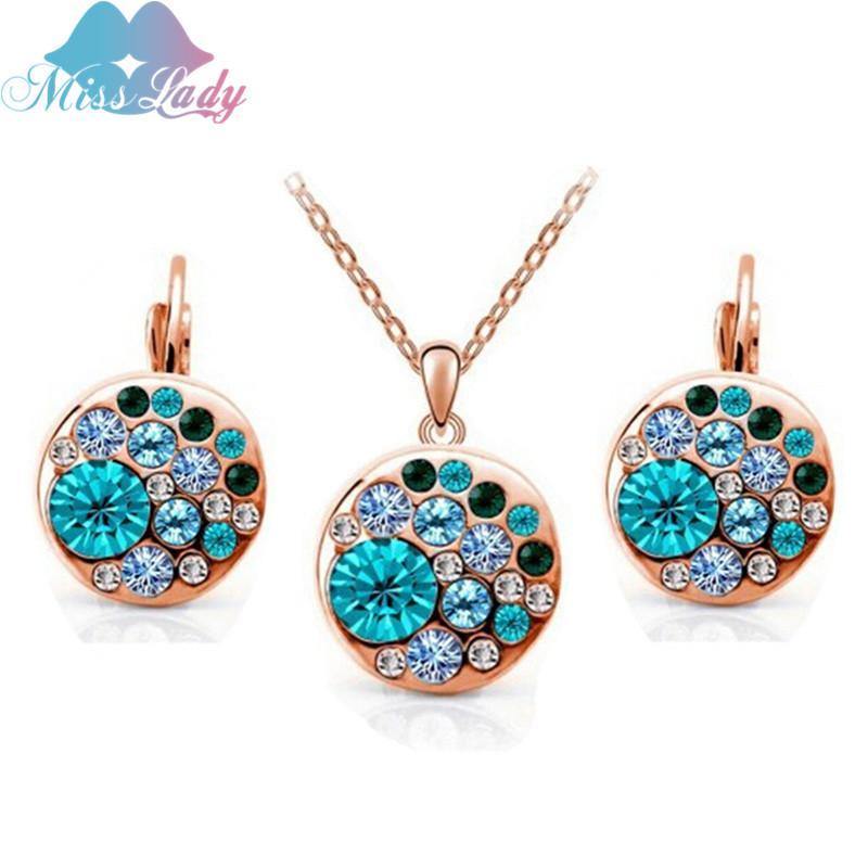 La joyería fija el color azul y rosa grande redonda traje africano Crystal verano joyas señorita señora Rose de oro para las mujeres